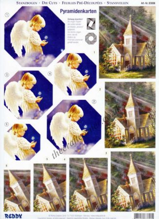 Angel Child, Church & Mary The Madonna Scenes Die Cut 3d Decoupage Pyramid Double Pack